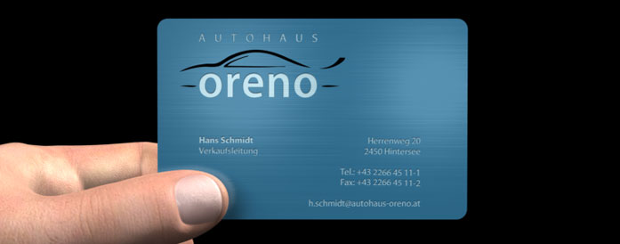 Color Metal Card, exklusive Businesscard, Visitenkarte aus Metall