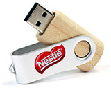 Wooden Twister USB Stick mit Logo.