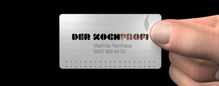 Mini Metal Card, exklusive Businesscard, Visitenkarte aus Metall