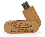Wooden Swivel USB Stick mit Logo