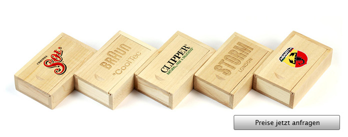 Wooden Slide Box USB Stick Verpackung